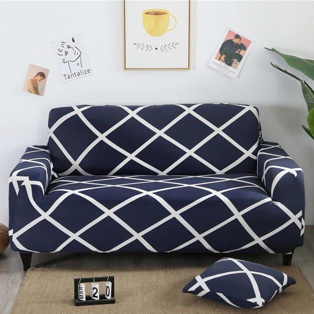 Navy Blue & White Lattice Striped Sofa Couch Cover