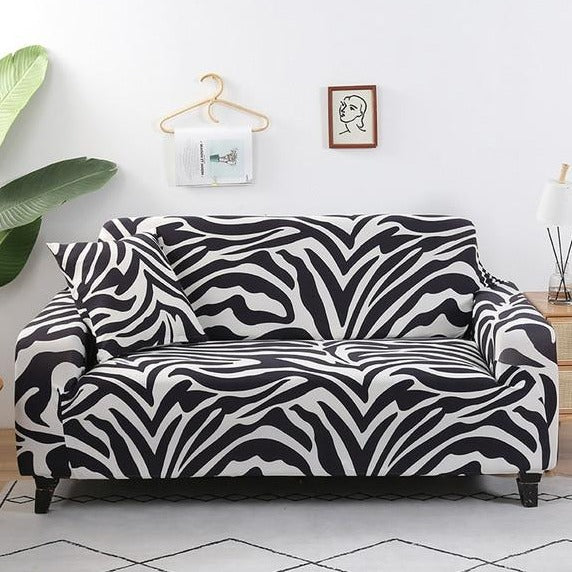 Black & White Zebra Print Pattern Sofa Couch Cover