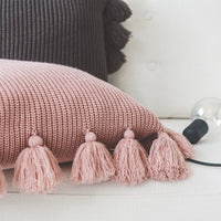 "18"" Solid Knitted Cotton Throw Pillow Cover w/ Tassels"