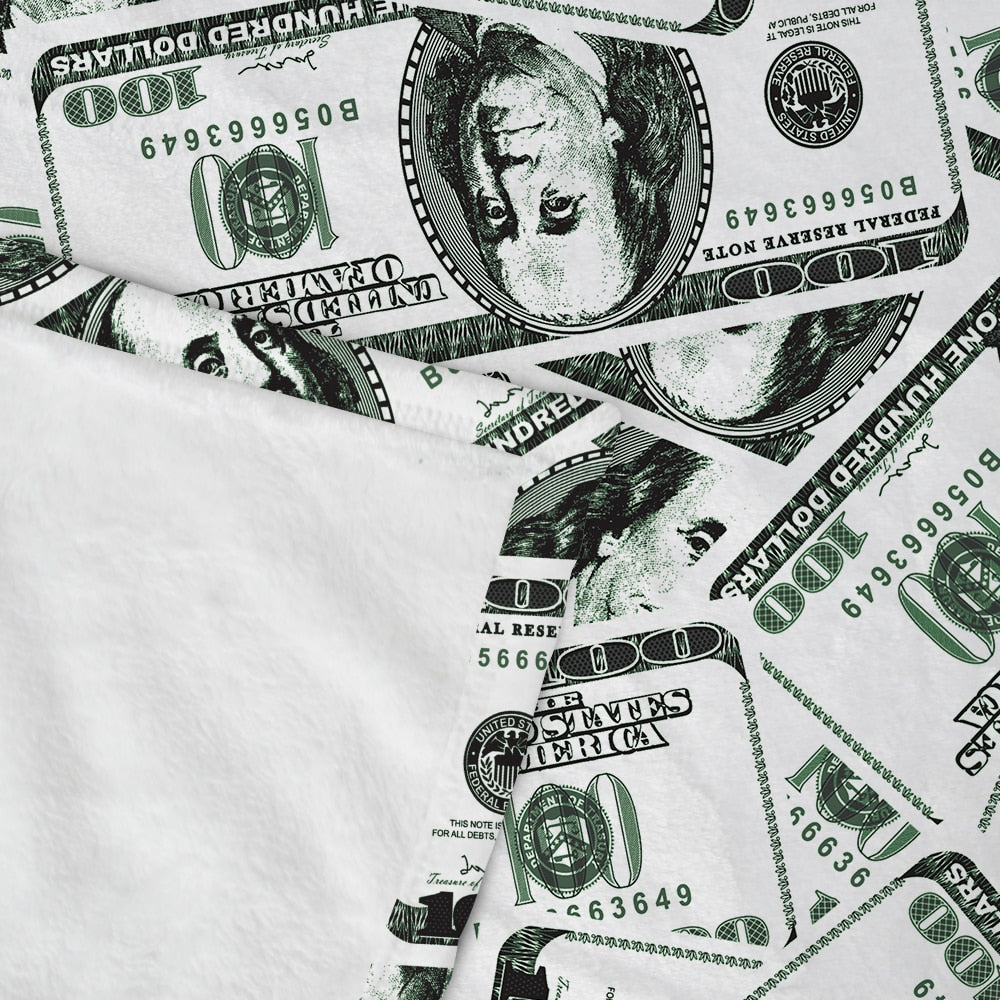 Hundred Dollar Bill Money Print Fleece Throw Blanket