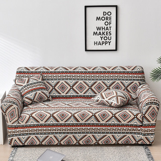 Beige / Orange Native Aztec Pattern Sofa Couch Cover