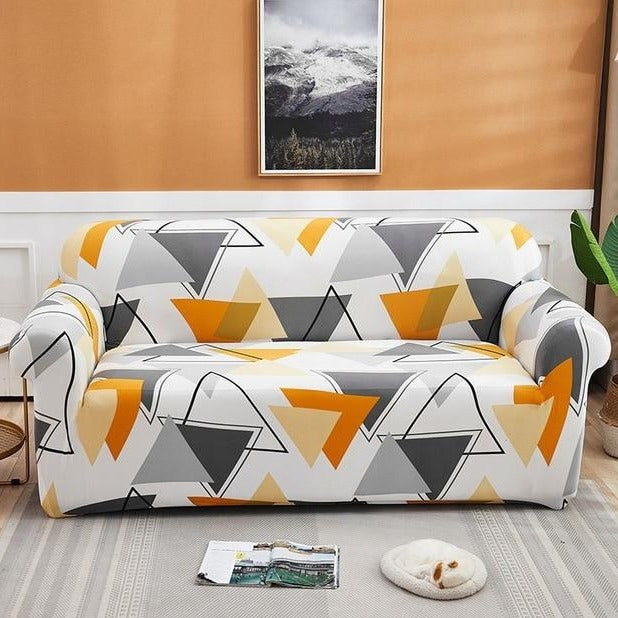 Orange / Gray Geometric Triangle Pattern Sofa Couch Cover