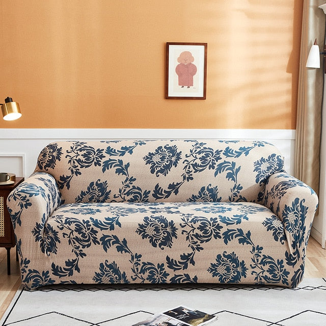 Beige / Blue Vintage Floral Pattern Sofa Couch Cover