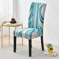 Teal / White Striped Marble Pattern Dining Chair Cover
