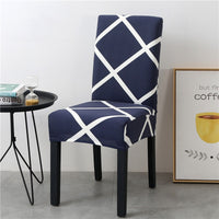 Navy Blue & White Lattice Striped Dining Chair Cover