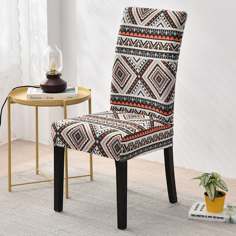 Beige / Orange Native Aztec Pattern Dining Chair Cover