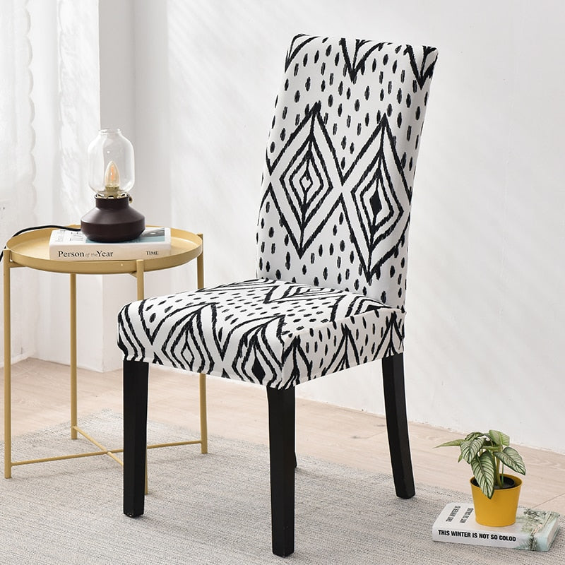 Black & White Tribal Diamond Pattern Dining Chair Cover