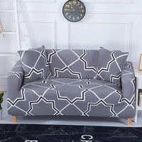 Gray / White Star Medallion Pattern Sofa Couch Cover