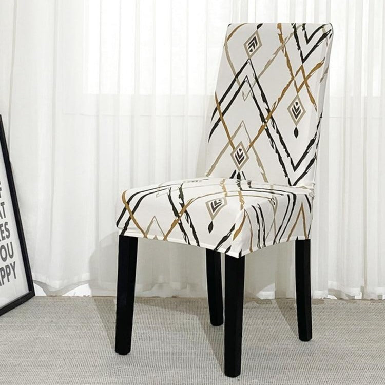 Ivory White Bohemian Tribal Pattern Dining Chair Cover