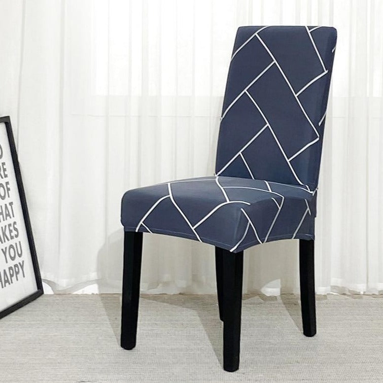 Large Herringbone Brick Pattern Dining Chair Cover