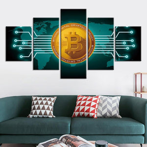 5-Piece Bitcoin Digital Currency Canvas Wall Art