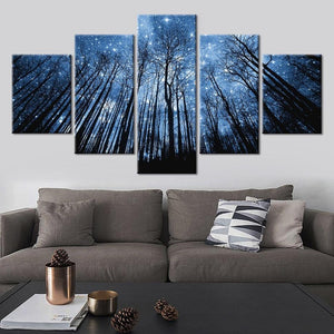5-Piece Blue Starry Forest Night Sky Canvas Wall Art