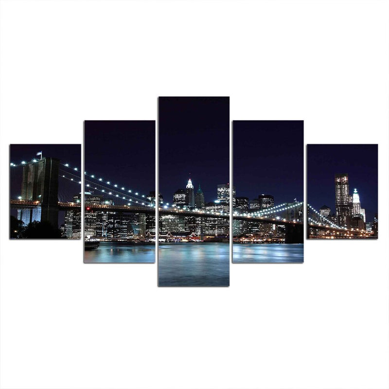5-Piece New York City Night Skyline Canvas Wall Art