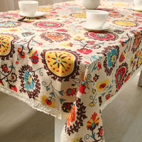 Colorful Bohemian Pattern Cotton Linen Tablecloth w/ Lace