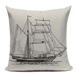 "18"" Vintage Nautical Sailboat Throw Pillow Cover"