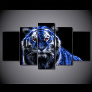 5-Piece Blue Glowing Neon Tiger Canvas Wall Art