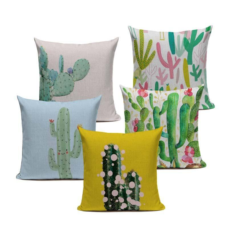 "18"" Multi-Color Cactus Print Throw Pillow Cover"