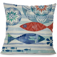 "18"" Blue Marine Nautical Sea Creature Throw Pillow Cover"