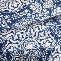 Blue Floral Medallion Pattern Cotton Linen Tablecloth w/ Lace
