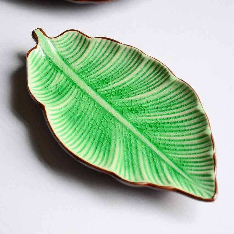 Ceramic Leaf Shaped Jewelry Snack Dish Tray Decorzee