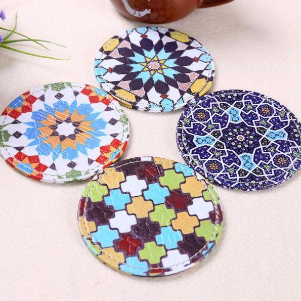 4-Piece Multi-Color Bohemian Pattern Drink Coaster Set
