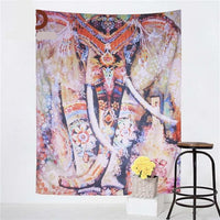 Multi-Color Painted Indian Elephant Wall Tapestry