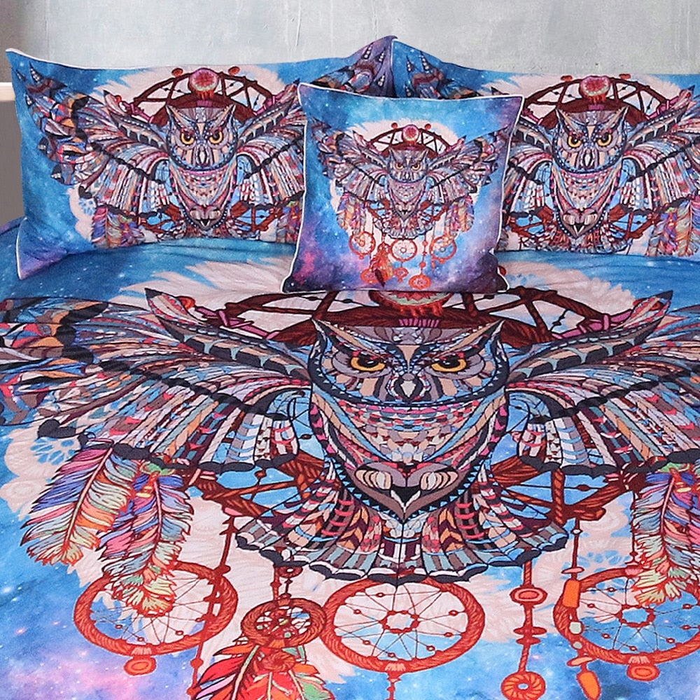 3-Piece Galaxy Owl Dreamcatcher Duvet Cover Set