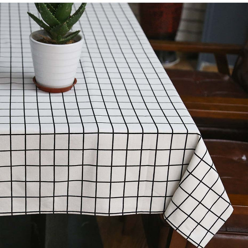 Simple Striped Lattice Pattern Cotton Linen Tablecloth