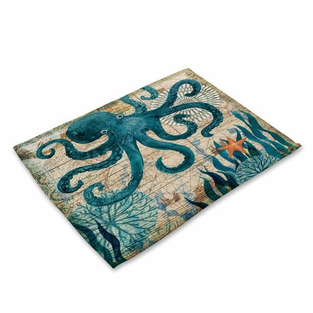2-6 Piece Mediterranean Sea Life Table Placemat Set