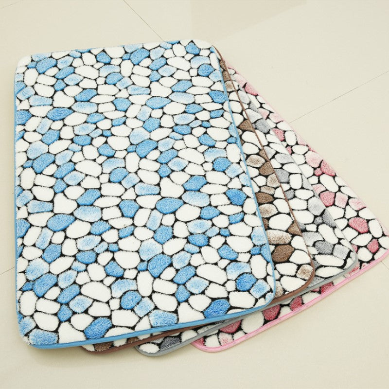Multi-Color Pebble Stone Pattern Absorbent Bath / Door Mat