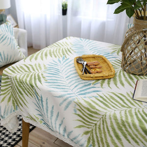 Blue / Green Palm Leaf Pattern Tablecloth w/ Lace
