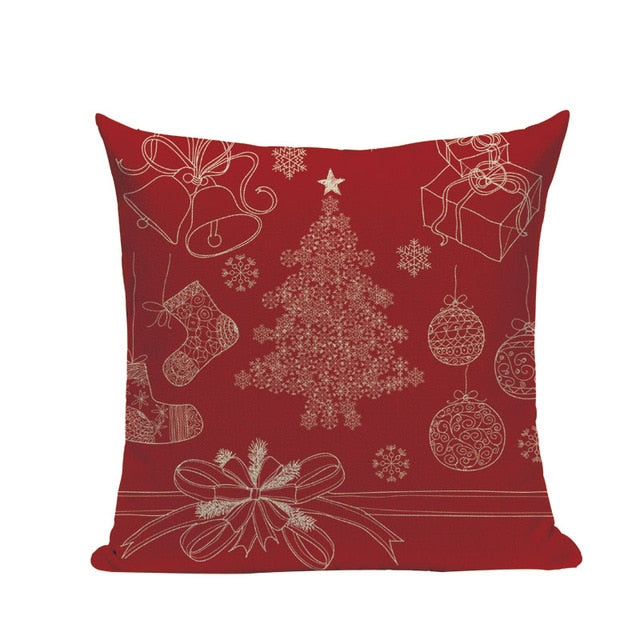 "18"" Red Santa Claus Print Throw Pillow Cover"