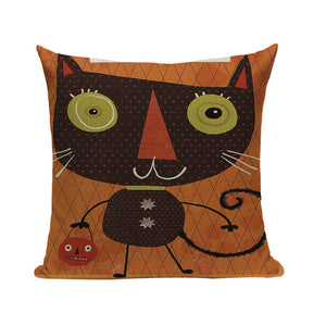 "18"" Vintage Scary Halloween Print Throw Pillow Cover"