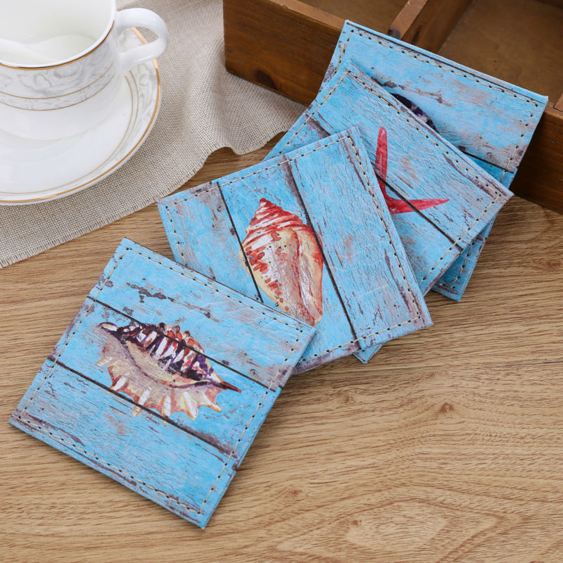 4-Piece Vintage Coastal Beach Drink Coaster Set