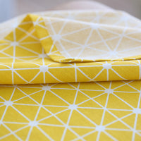 Yellow Geometric Triangle Pattern Cotton Linen Tablecloth