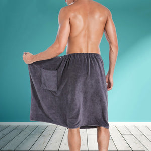 Men's Wearable Bath Towel Wrap w/ Pocket
