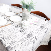 Black & White Vintage Writing Cotton Linen Tablecloth w/ Lace