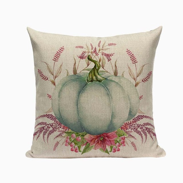 "18"" Autumn / Halloween Pumpkin Print Throw Pillow Cover"