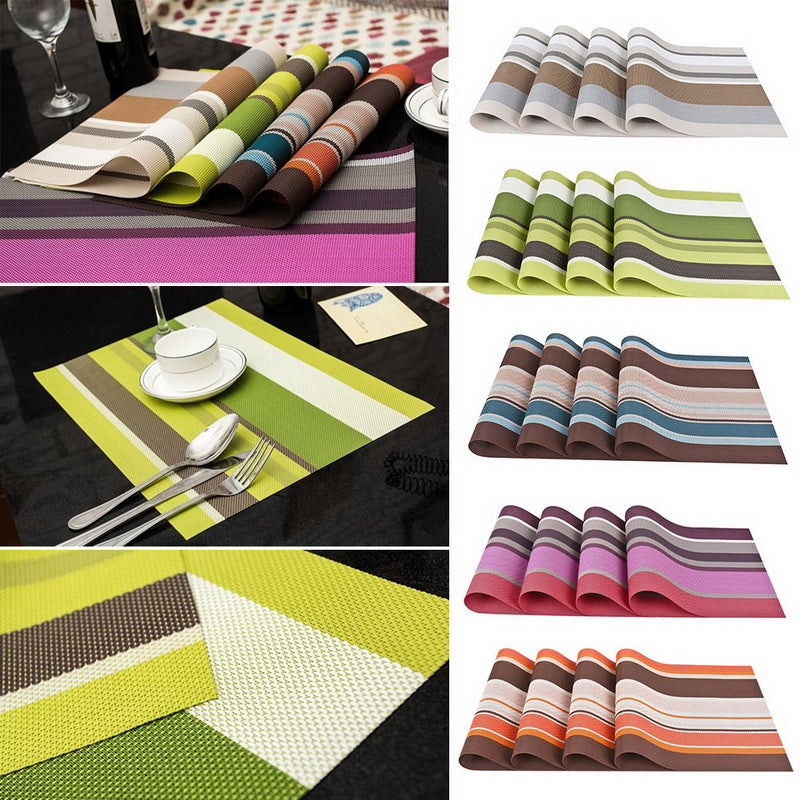 4-Piece Multi-Color Striped PVC Vinyl Table Placemat Set