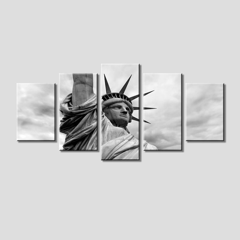 5-Piece Black & White Statue Of Liberty Canvas Wall Art
