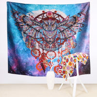 Galaxy Owl Dreamcatcher Wall Tapestry