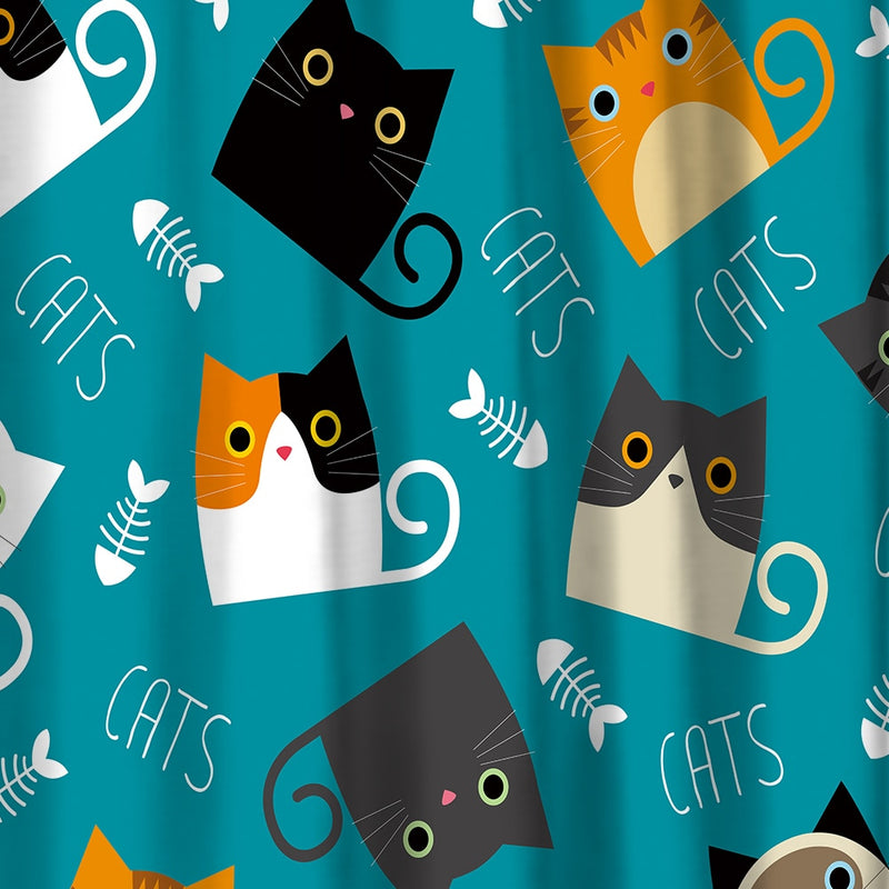 Cartoon Kitty Cat Shower Curtain / Bath Mat