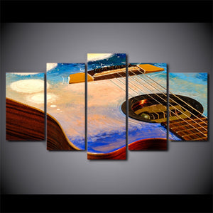 5-Piece Abstract Painted Guitar Canvas Wall Art