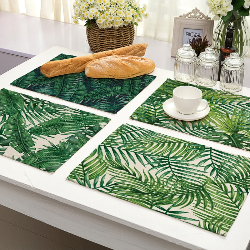 2-6 Piece Tropical Palm Leaf Print Table Placemat Set