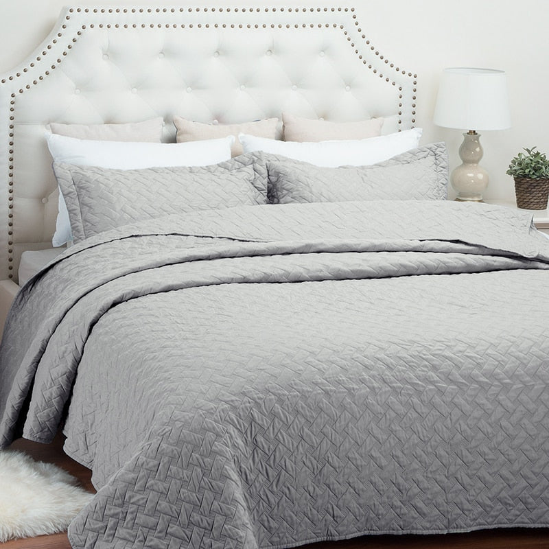 2/3-Piece Lattice Stitched Quilt Bedspread / Coverlet Set
