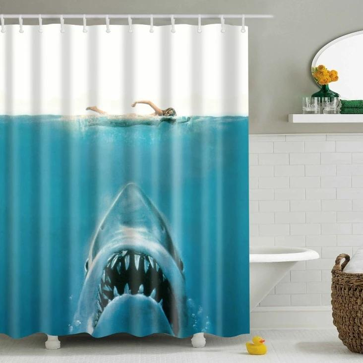 Jaws Hunting Shark Print Bathroom Shower Curtain