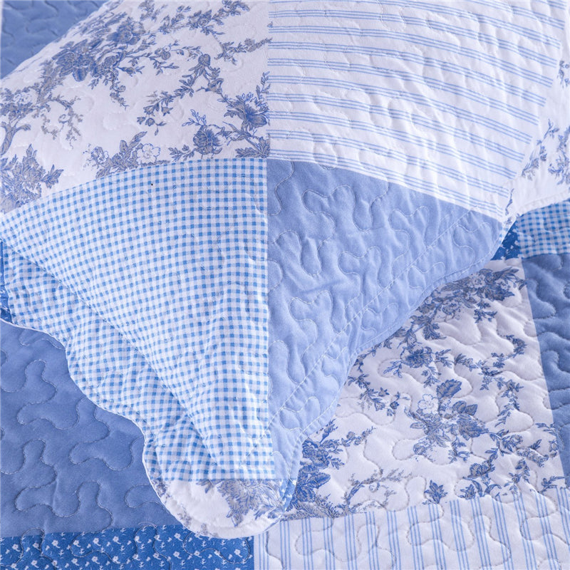 Blue 2/3-Piece Patchwork Quilt Print Bedspread Coverlet Set