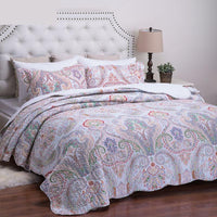 Purple 2/3-Piece Crimson Pattern Quilt Bedspread Coverlet Set