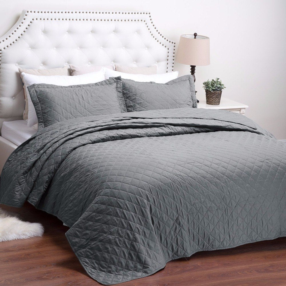 2/3-Piece Diamond Stitched Quilt Bedspread Coverlet Set