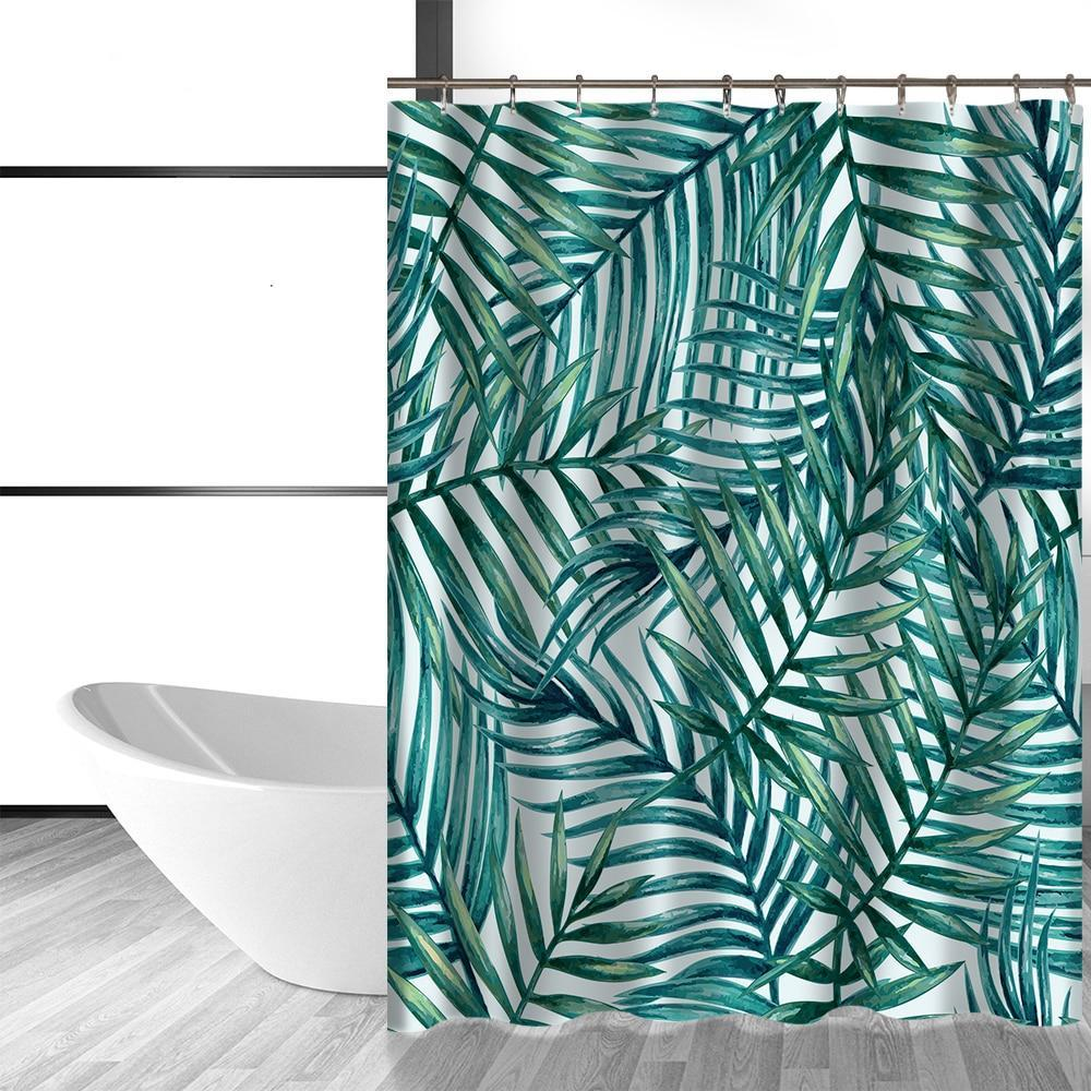 Tropical Palm Leaf Print Bathroom Shower Curtain